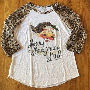 Leopard Print Tacky Christmas Santa Baseball Tee L